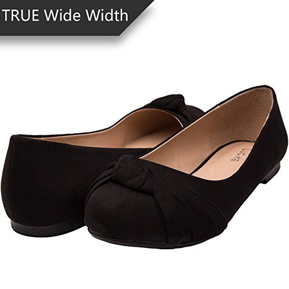 e3140dd0ceb Women s Wide Width Flat Shoes - Comfortable Slip On Round Toe Ballet  Flats(MC Black 180303