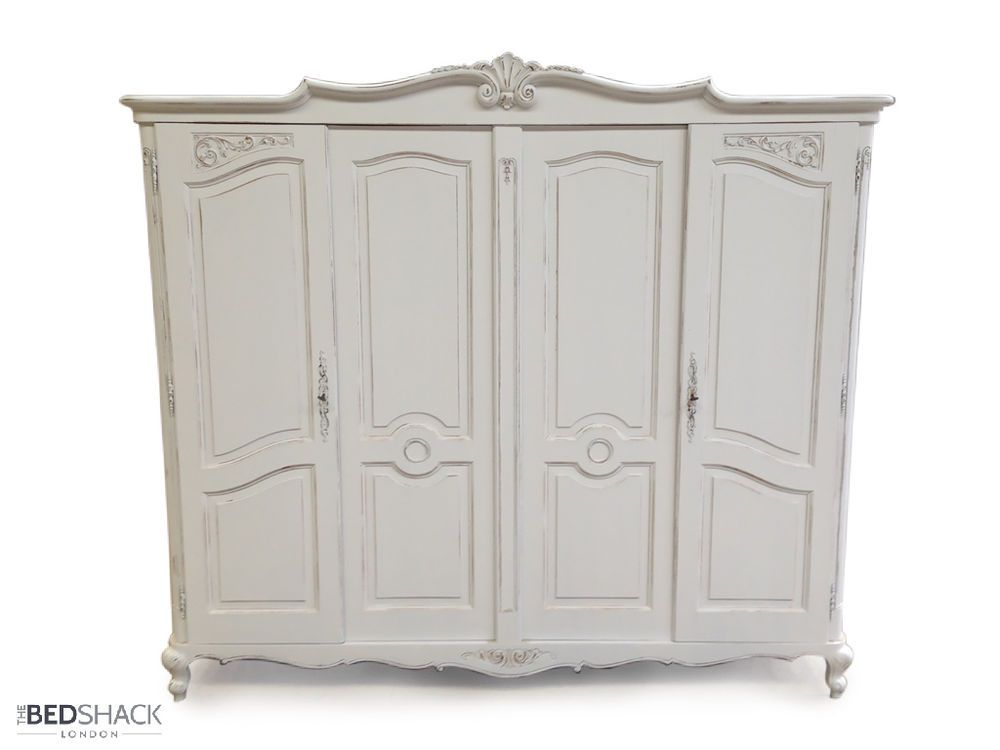 white wood wardrobe armoire shabby chic bedroom. White Shabby Chic 1950 S Vintage French Oak 4 Door Wardrobe / Armoire Wood Bedroom O