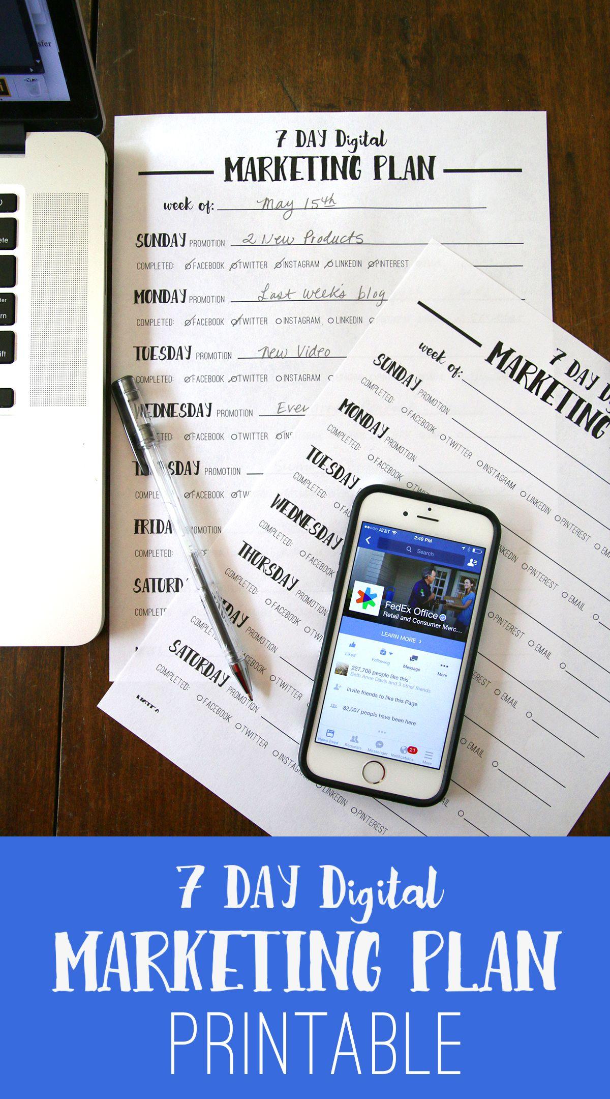 Free Printable  Day Digital Marketing Plan To Help You Achieve