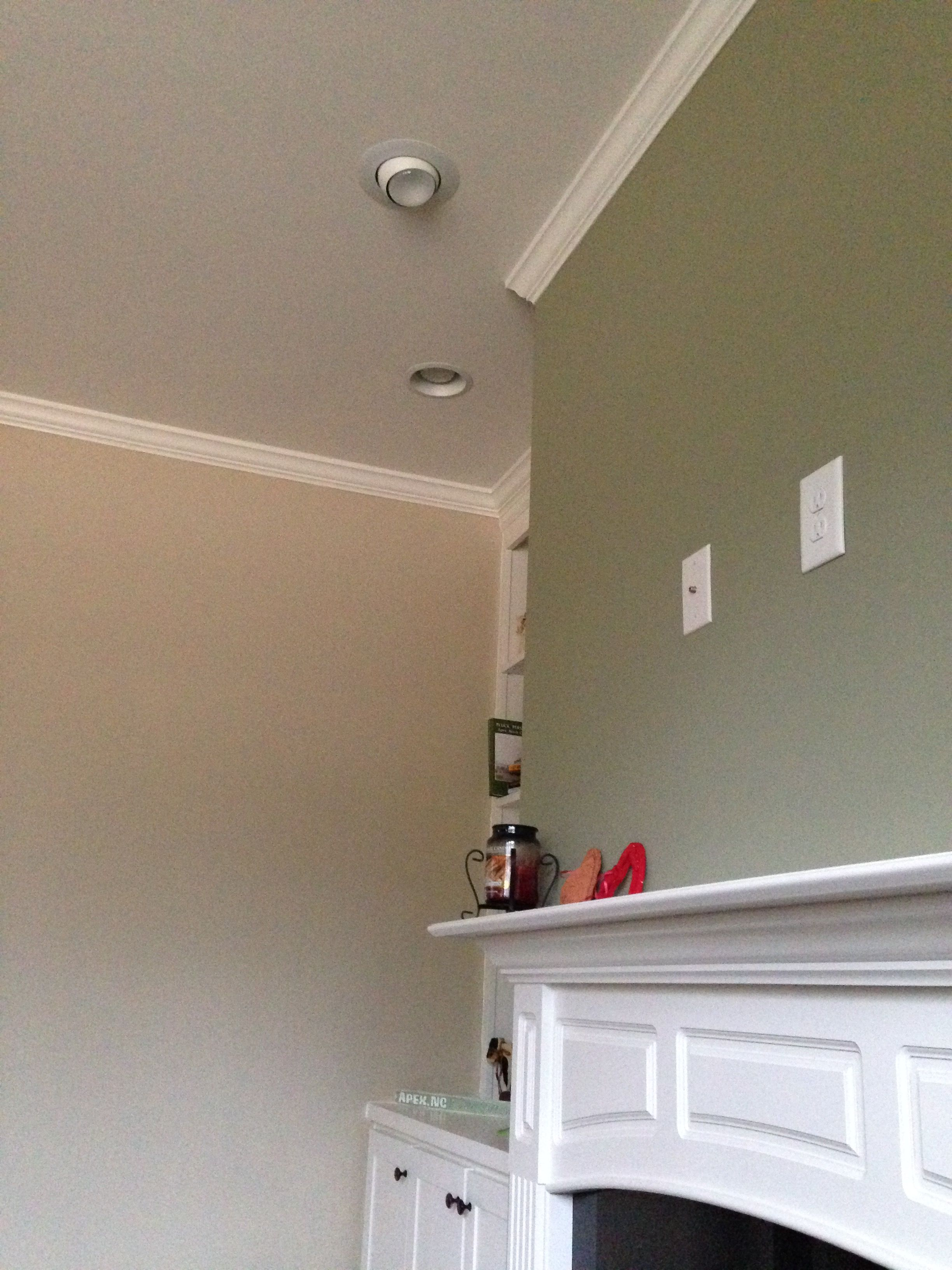 Family room wall. Urban Putty on walls, Pacer White trim