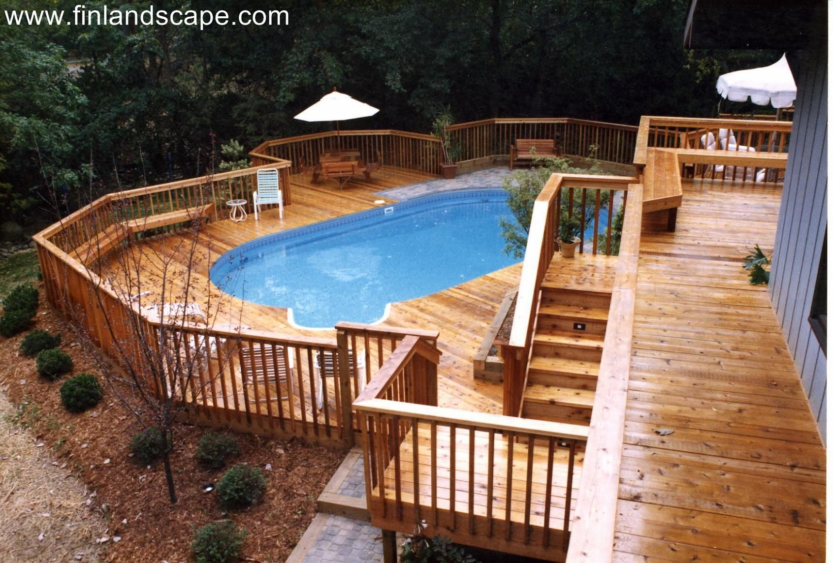 A Hillside Back Yard Including A Swimming Pool Multilevel
