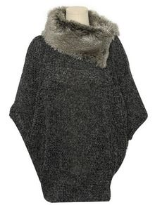 Grey Bat Sleeve Loose Sweater -SheIn(Sheinside)