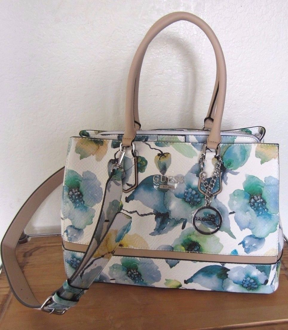 Guess Marciano Blue White Green Sky Multi Radiant Flower Satchel