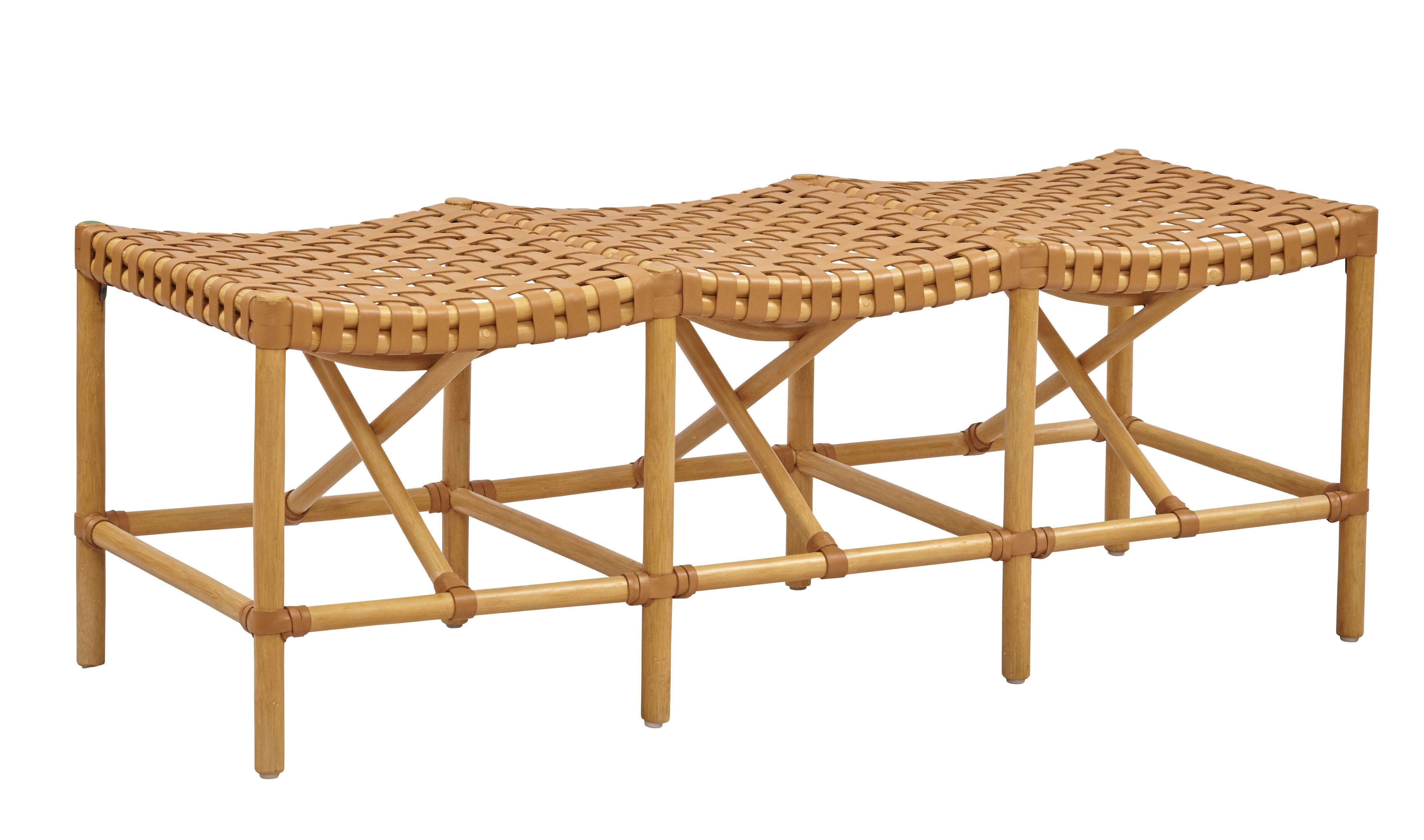 Malibu Bench. Natural rattan w/woven Saddle leather