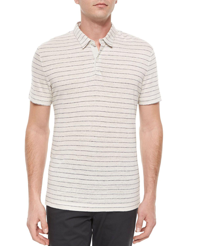 e0dd84a44ad Striped Linen Short-Sleeve Polo Shirt