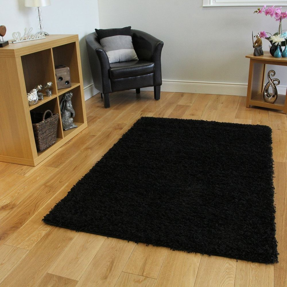 Black Shaggy Rug Large Luxury Soft Thick Living Room Home Area New 80cm X 150cm Black Black Shag In 2020 Rugs In Living Room Living Room Area Rugs White Faux Fur Rug
