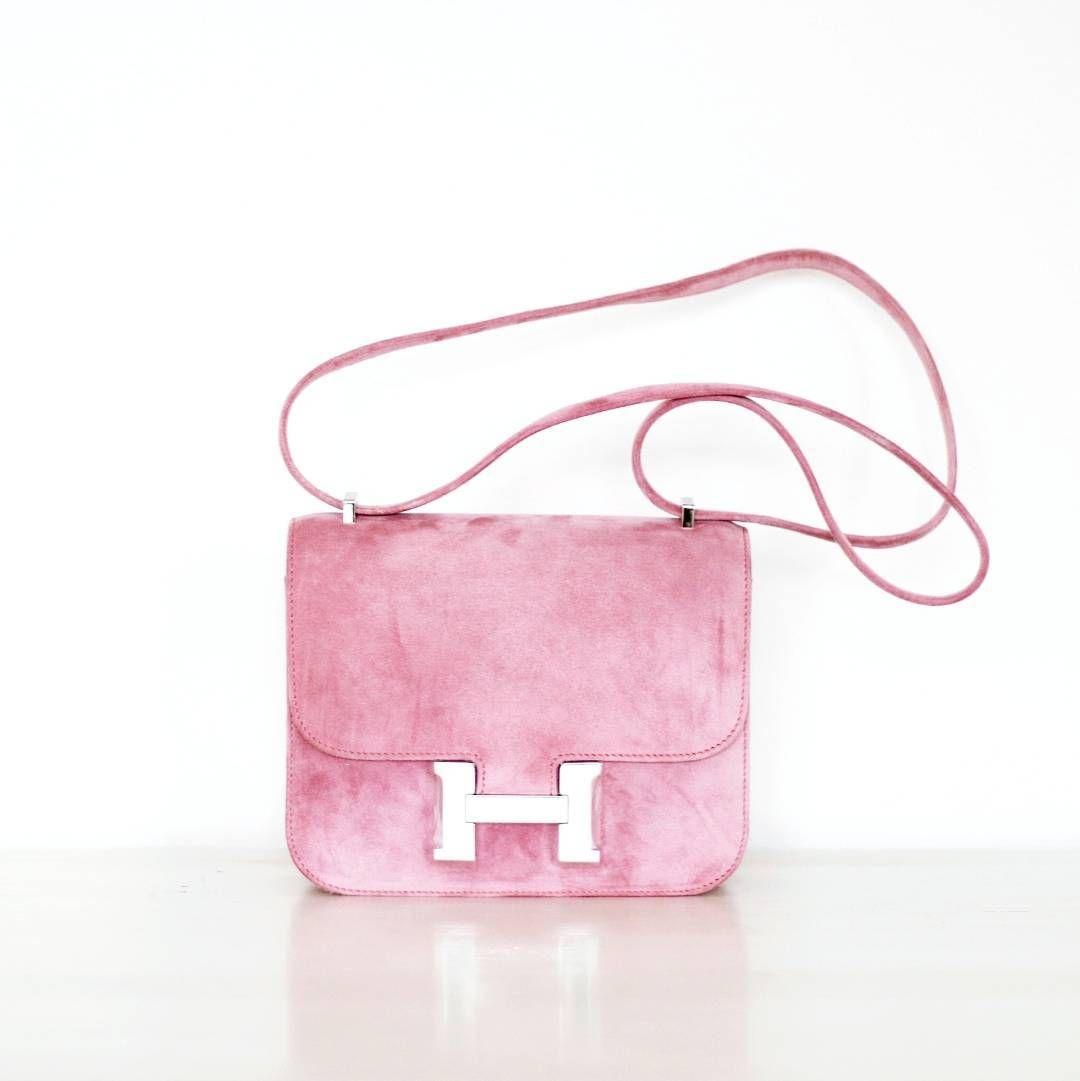 Pink Suede Hermes Constance