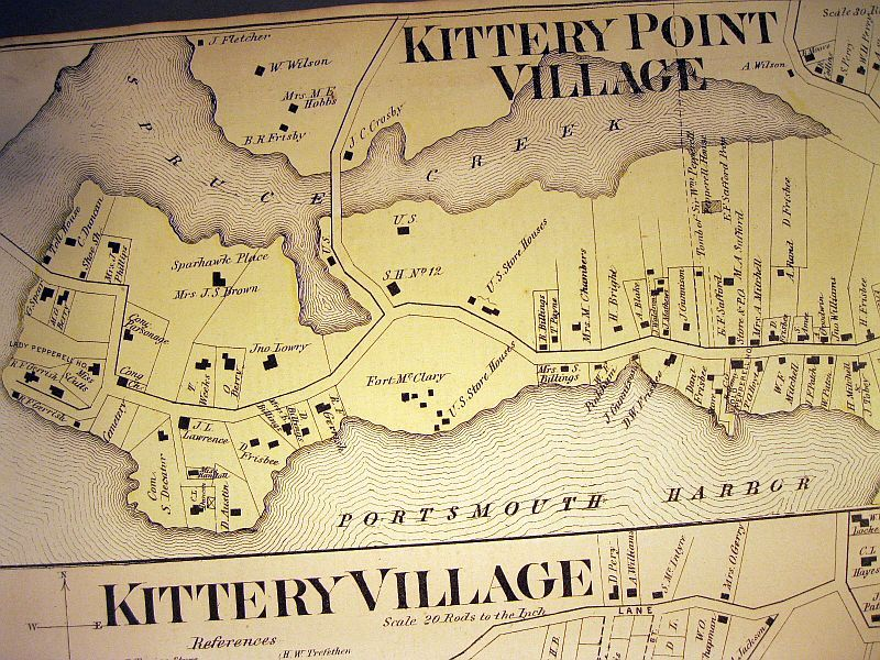 historic map kittery maine Details about