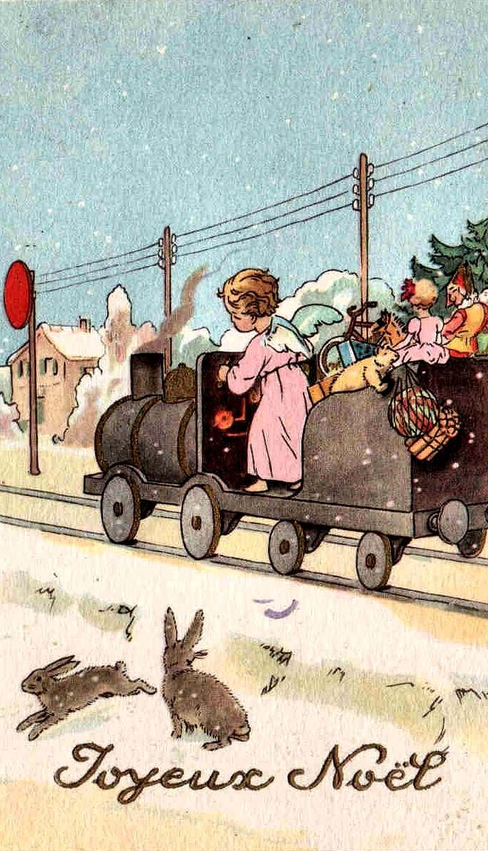 Joyeux Noel girl in pink driving a train | Vintage... I love ...