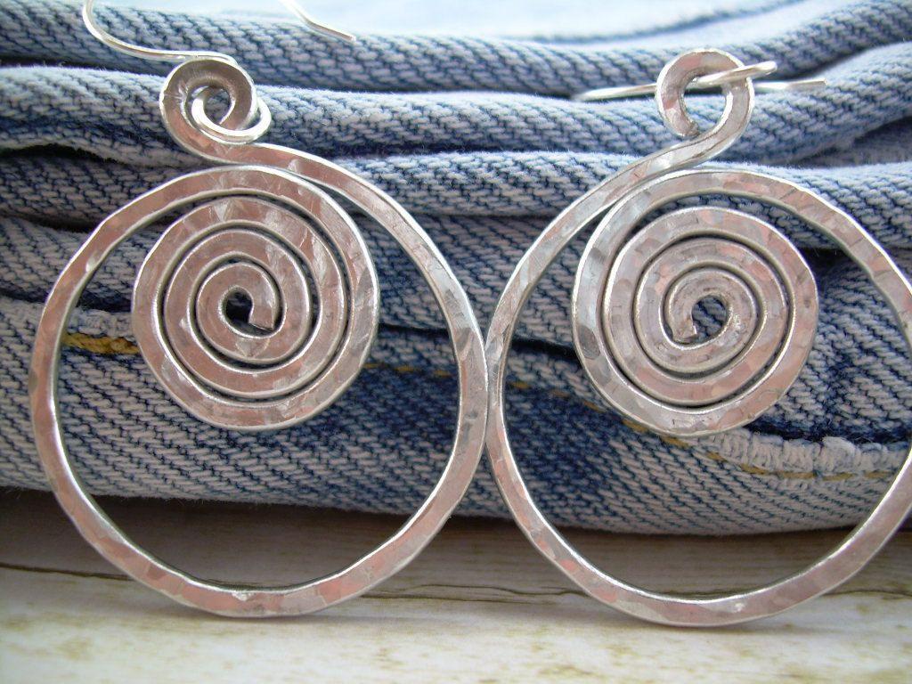 Spiral Hoop Earrings Silver Wire Earrings Silver Spiral Earrings ...