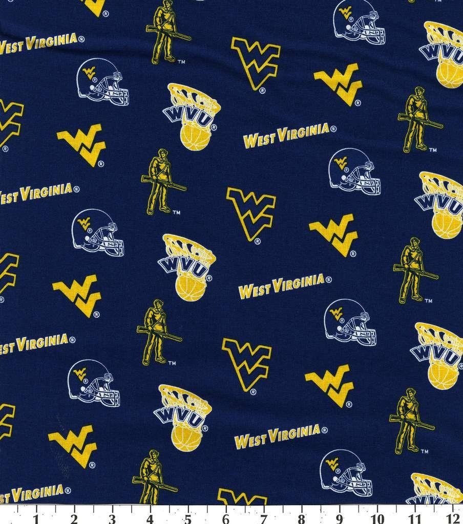 West Virginia University Mountaineers Cotton Fabric Blue