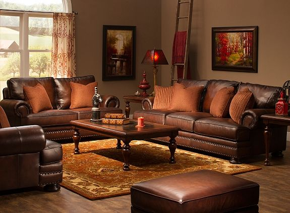 Foster Leather Sofa Living Room