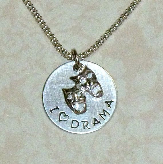 I Love Drama Hand Stamped Sterling Silver Charm Necklace by #DolphinMoonCreations.com #ilovedramanecklace #dramanecklace #dramajewelry