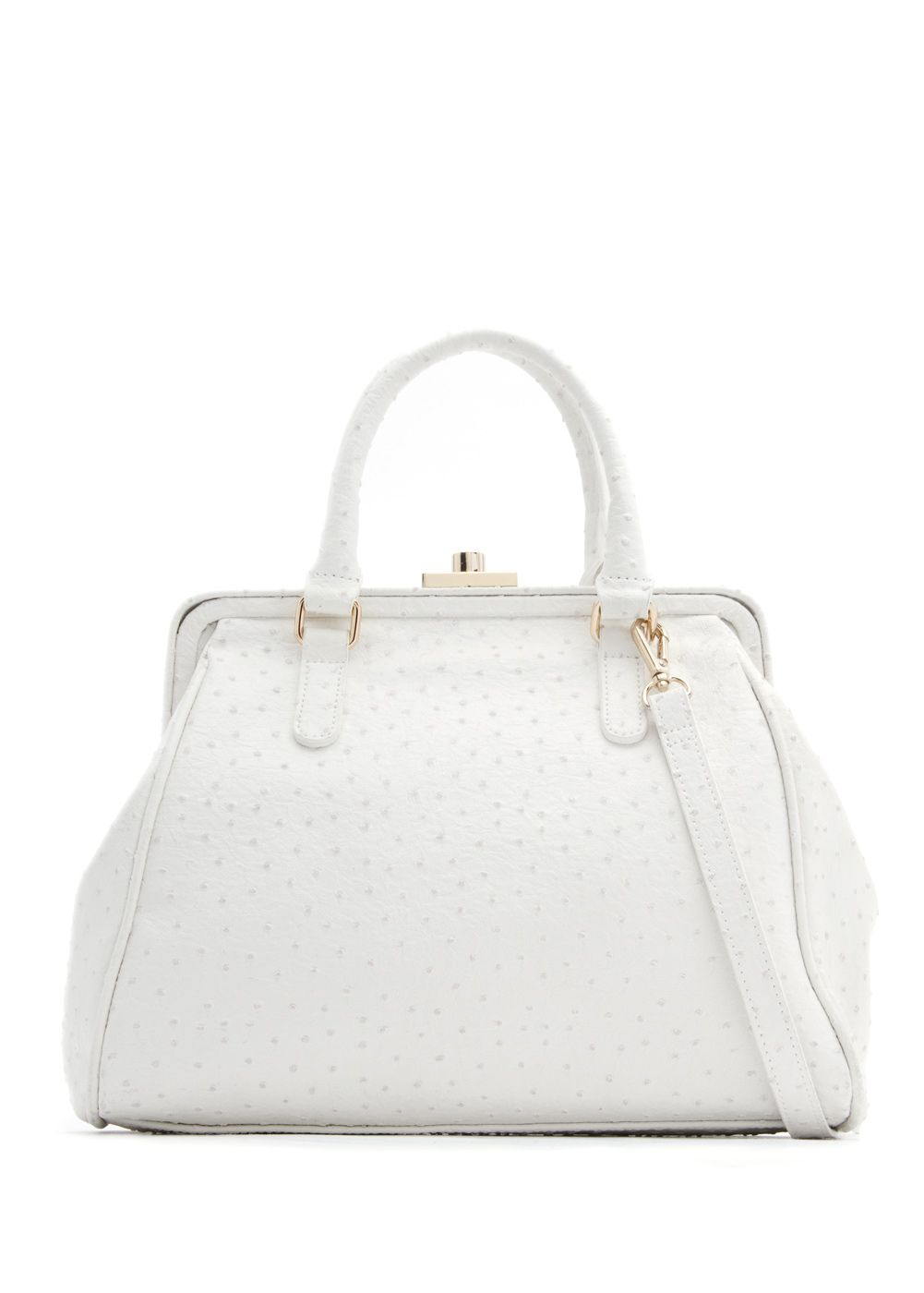White ostrich leather effect tote
