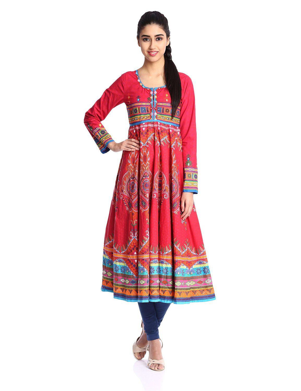 d88a36adb1 Biba Women's Cotton Anarkali Kurta (Kutch # 9810_Red_34): Amazon.in:  Clothing & Accessories