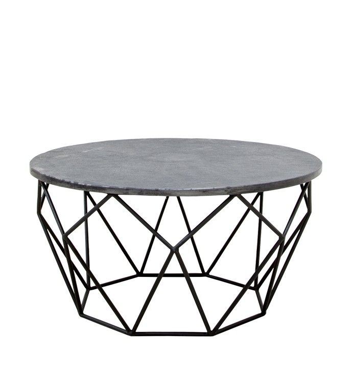 Modern Stone Coffee Table With Iron Base Between Swivel Chairs