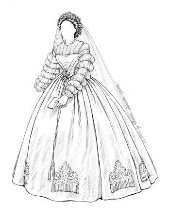wedding bride 1850s to 60s print 30a antique brides 1 paper 1860s Victorian Wedding Party wedding bride 1850s to 60s print