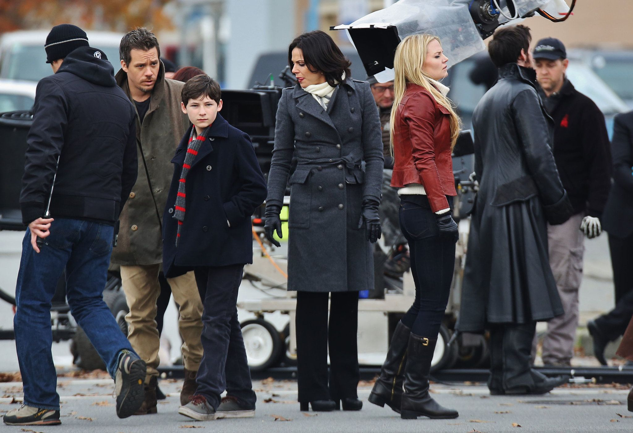 Lana Parrilla, Jared Gilmore, Jennifer Morrison, and Colin O'Donoghue on the set of Once Upon a Time.