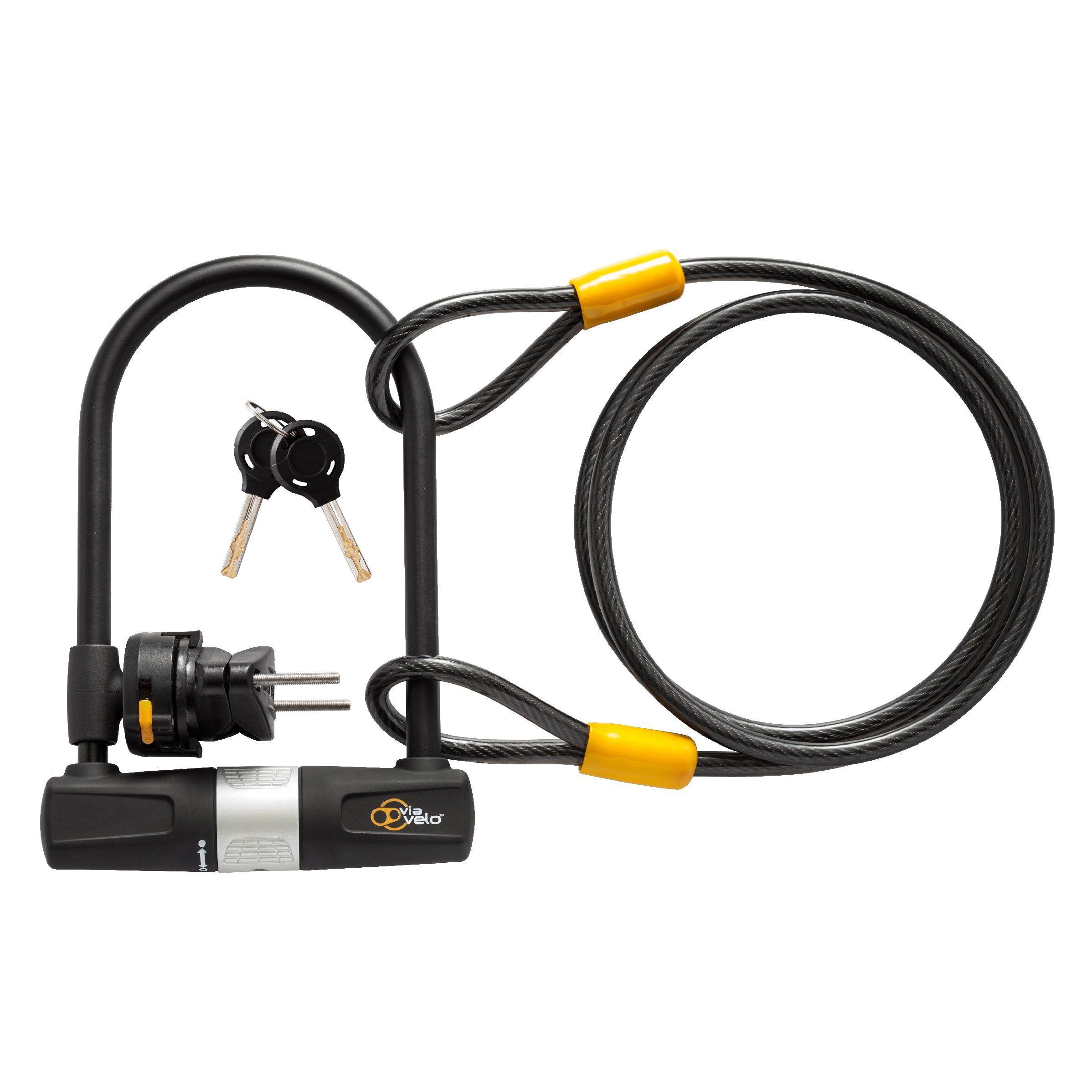 Bike U Lock With Cable Via Velo Heavy Duty Bicycle Ulock14mm