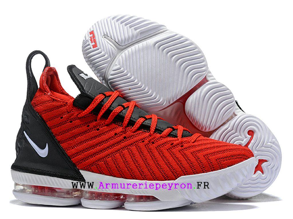 new style fa2a1 9340c Nouveau Nike LeBron 16 Oreo Chaussures De BasketBall Pas Cher Homme Blanc  noir rouge AO2588I135-