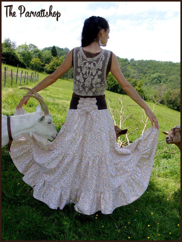 maxi skirt jupe boh me liberty upcycled ecofriendly patchwork de la boutique theparvatishop sur. Black Bedroom Furniture Sets. Home Design Ideas