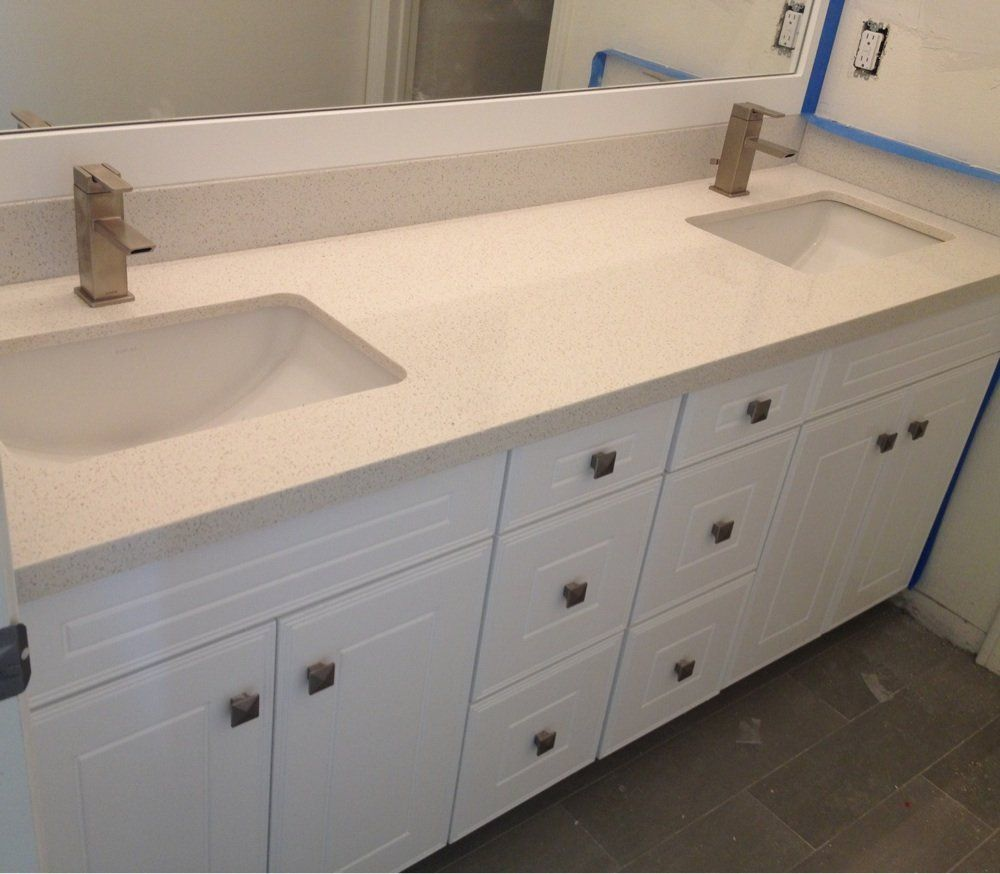 silestone bathroom countertops. Premium White Cabinets With Silestone Blanc Countertops And Kohler Undermounted Bathroom