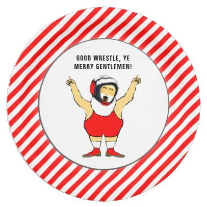 wrestling Christmas party Paper Plate - diy inidual customized design unique ideas  sc 1 st  Pinterest & wrestling Christmas party Paper Plate - diy inidual customized ...