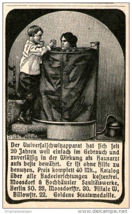 Werbung - Original - Werbung/ Anzeige 1911 : UNIVERSALSCHWITZAPPARAT / MOOSDORF & HOCHHÄUSLER BERLIN - ca . 45 x 70 mm