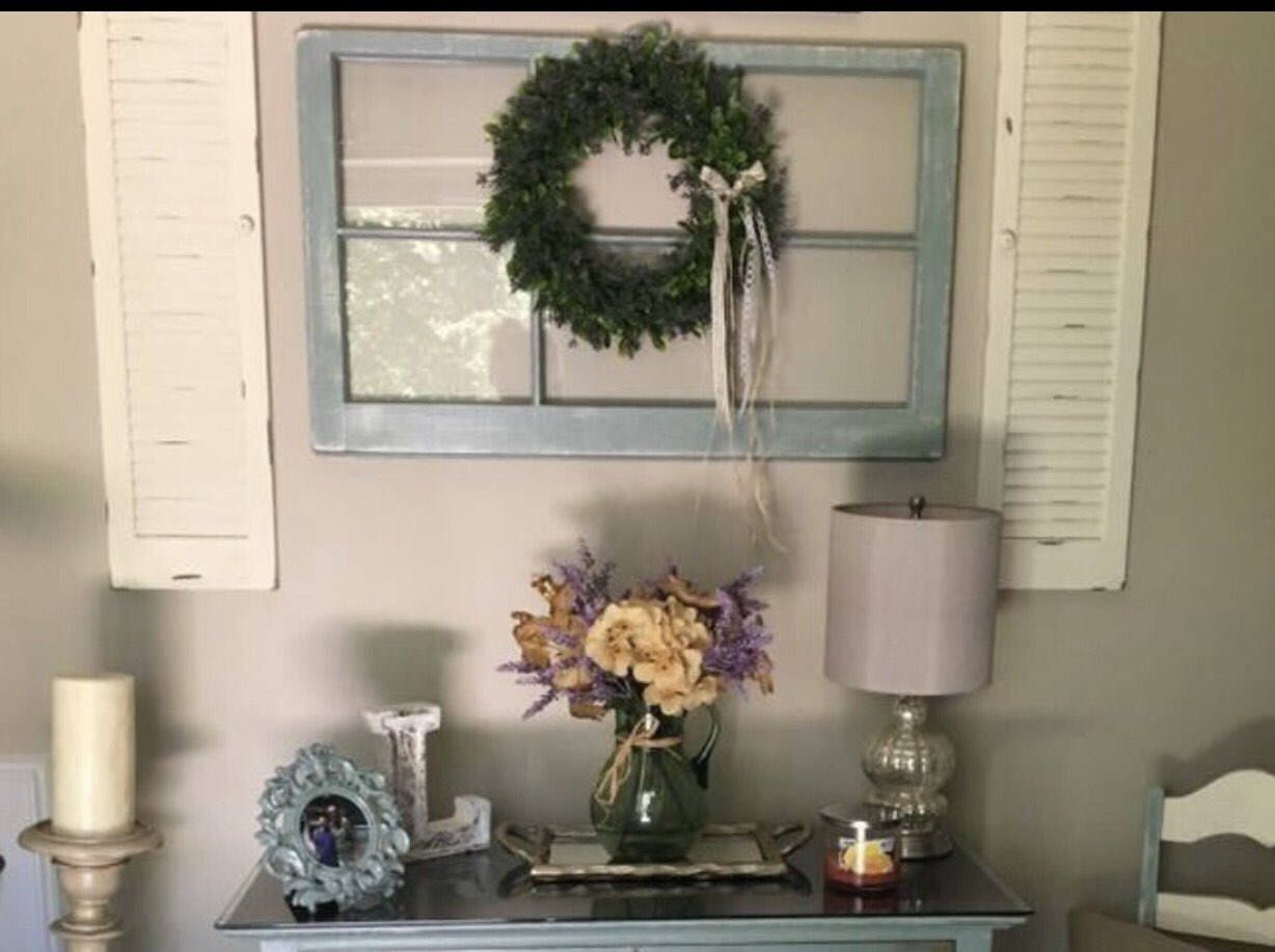Window decor with wreath  a personal favorite from my etsy shop sylisting