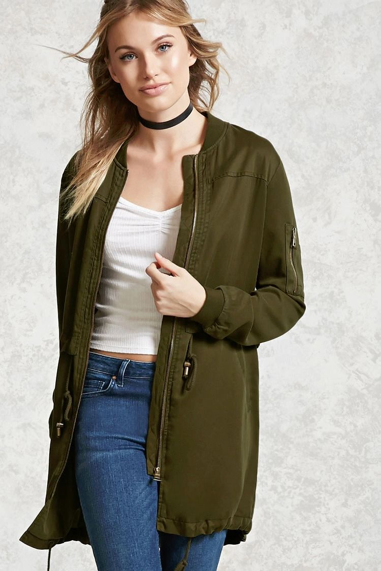 Forever 21 Contemporary - A lightweight woven bomber jacket featuring a longline silhouette, burnished zipper front, long sleeves and a round neckline with ribbed trim, drawstrings at the waist and hem, slanted front pockets, and a utility sleeve pocket.