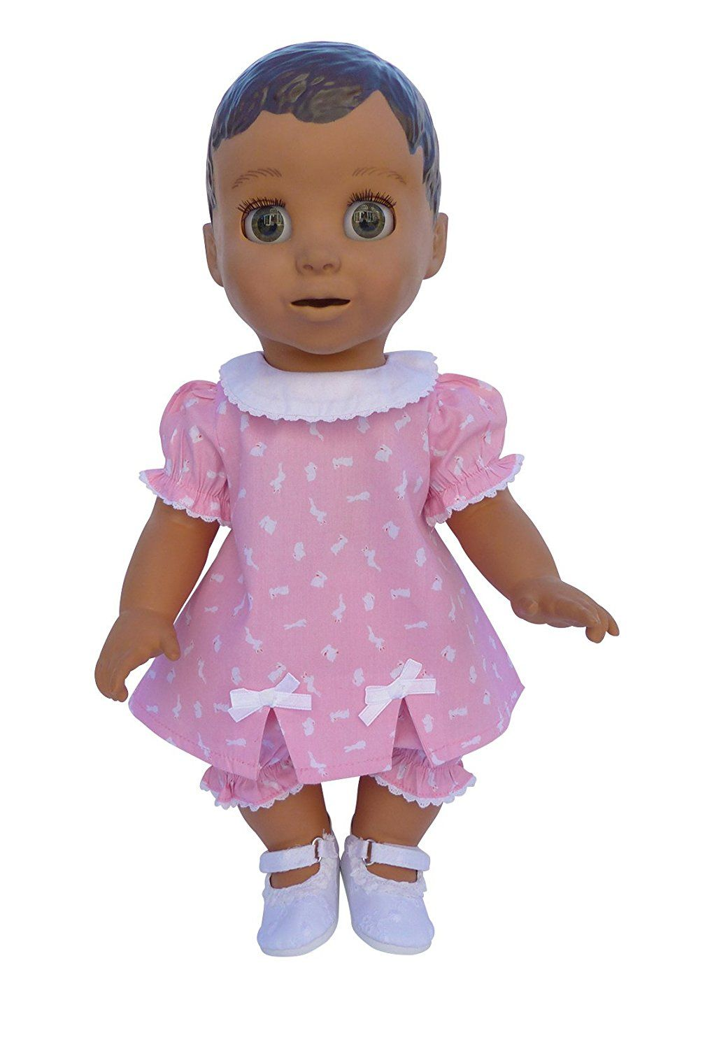 dddb8419fa77 PINK BUNNY DRESS BLOOMERS AND SHOES SET FOR LUVABELLA DOLL FROM FRILLY LILY