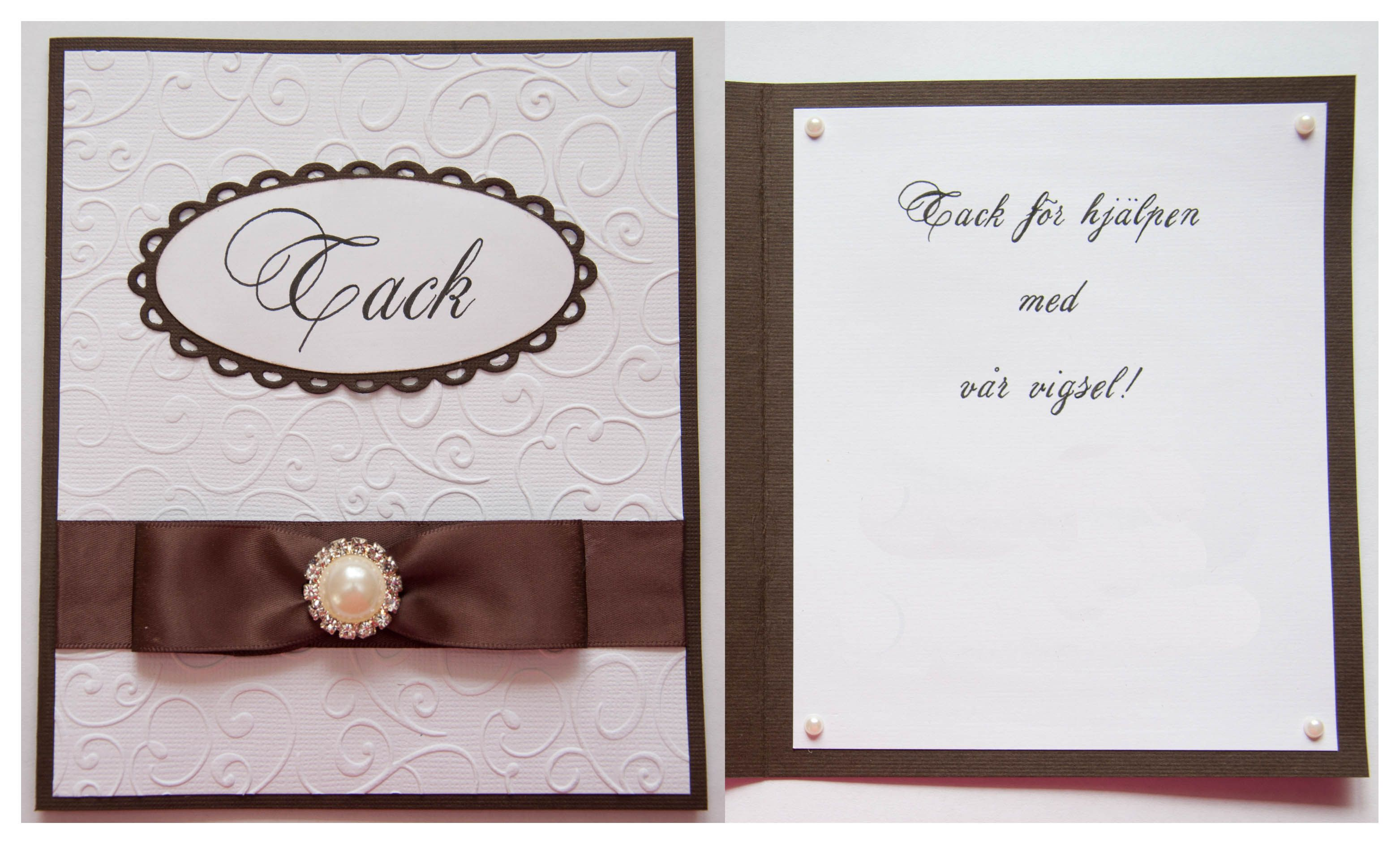 Ett tackkort jag gjorde till en vigselförrättare.  A Thank you card I made to a wedding officiant. CS Reprint / Paper Accents. Text handmade. Quickutz lace oval and oval dies.Made by www.kirsi.nu