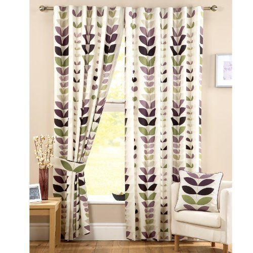 Zest Modern Retro Solid Printed Leaf Pattern Readymade Lined Pencil Pleat Curtains Cream Aubergine Dining Room