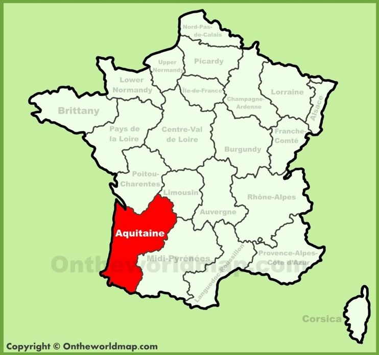 Aquitaine Location On The France Map France Map Champagne Ardenne Map