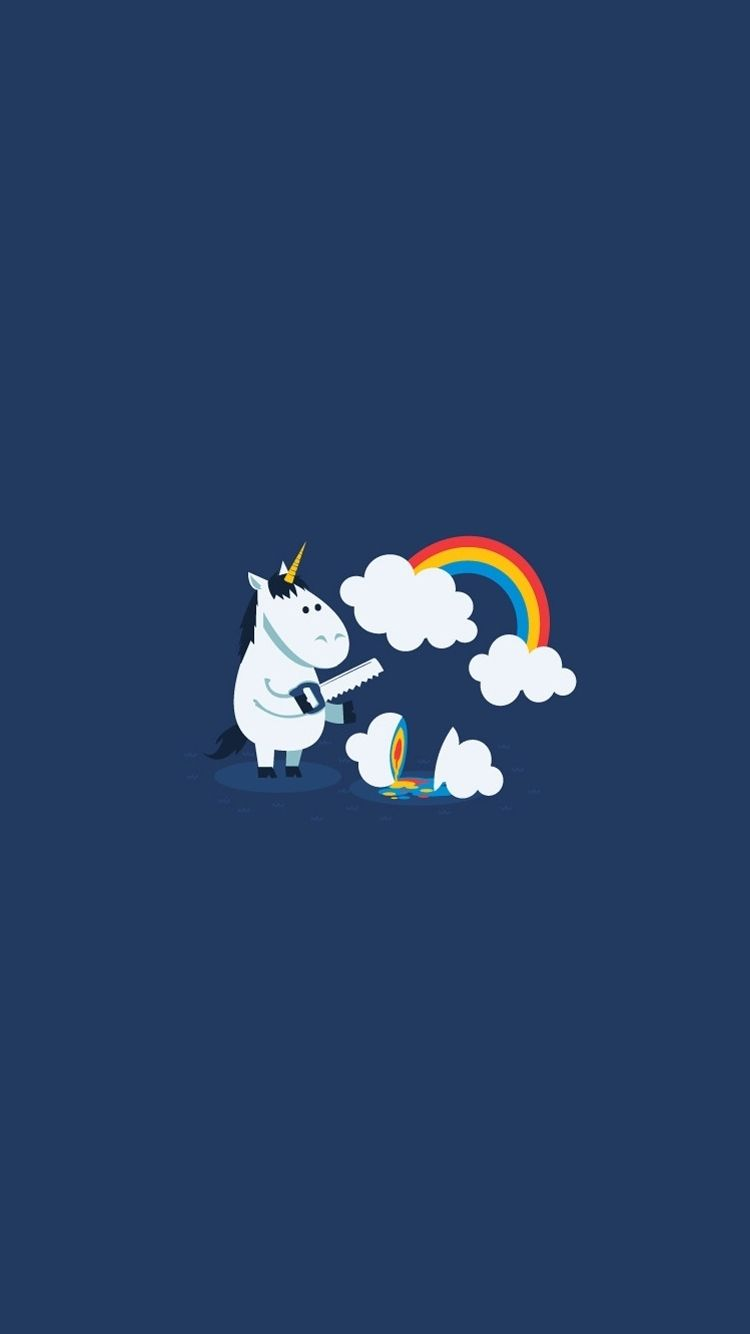 Unicorn Saw Clouds Rainbow Funny Iphone  Wallpaper