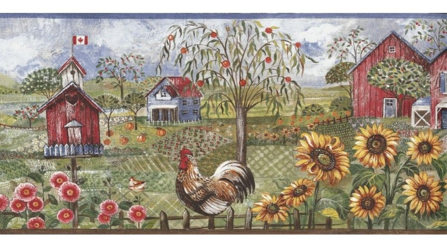 Blue Rooster Farm Wallpaper Border Farmhouse Wallpaper Wallpaper Border Kitchen Wallpaper Border