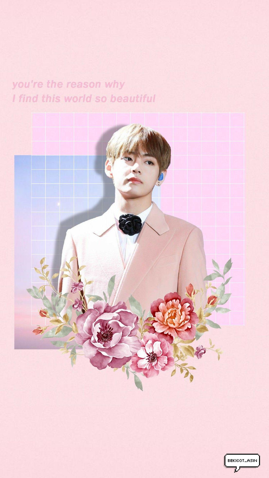 Pink Tae Taehyung V Btsv Btstaehyung Bangtanboys Btswallpaper