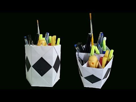 How to make a color pen holder with colour paper and Cardboard.. - YouTube