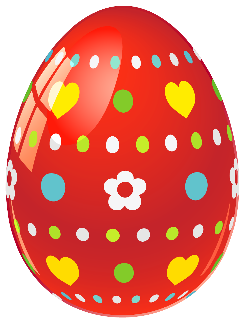 Red Easter Egg With Flowers And Hearts PNG Picture
