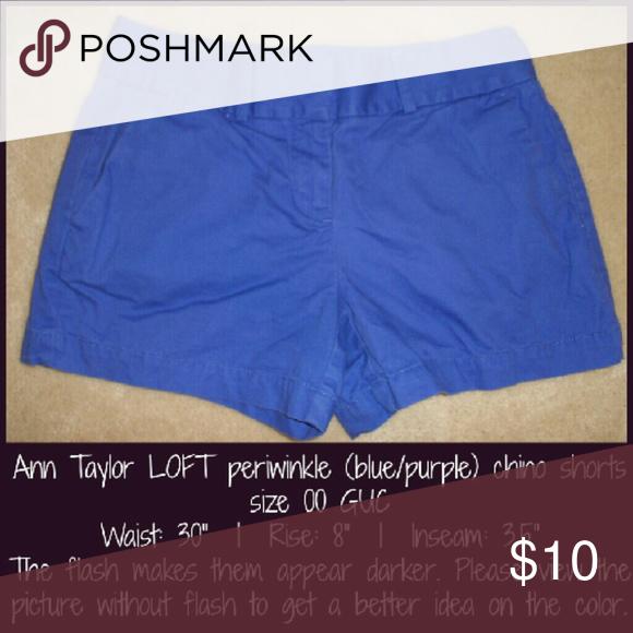 Ann Taylor LOFT periwinkle chino shorts 00 Good condition! LOFT Shorts