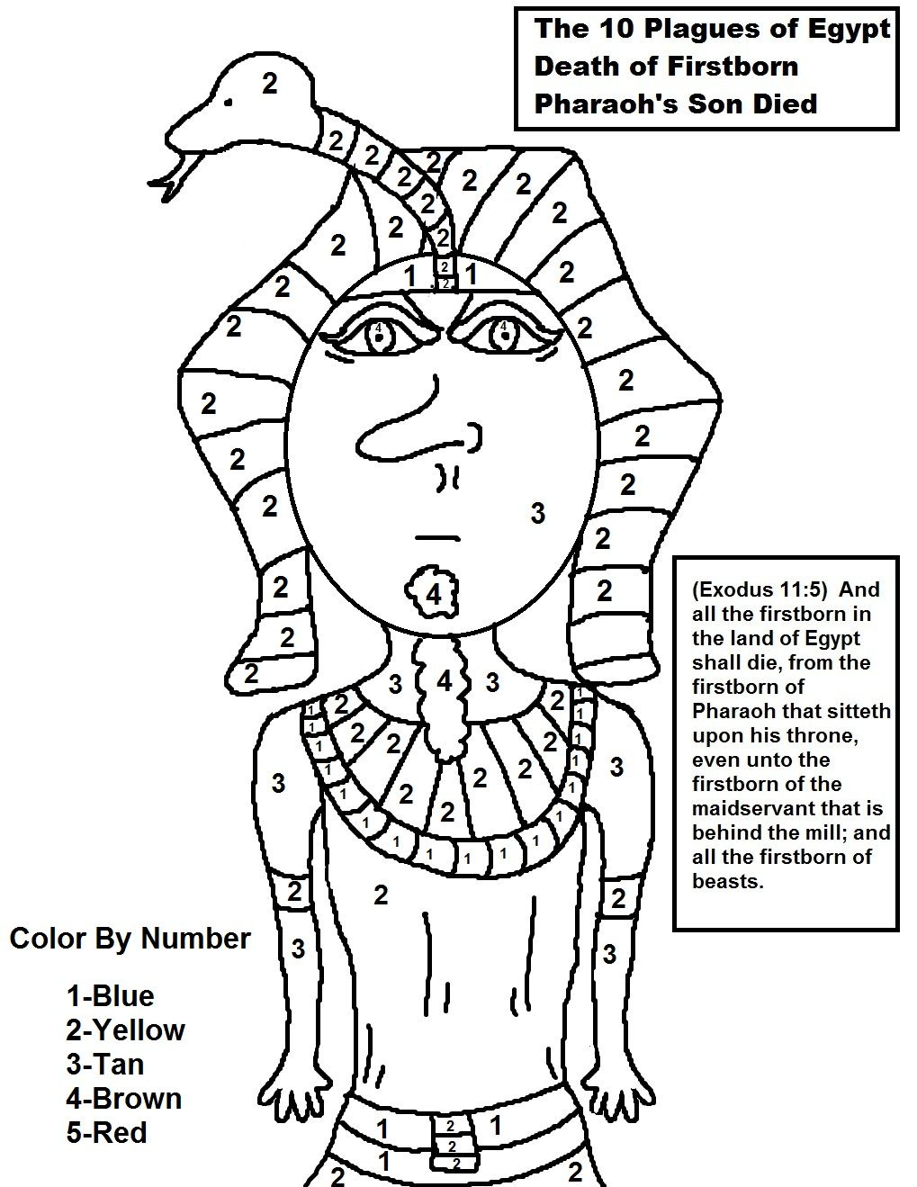 The 10 Plagues Of Egypt Death Firstborn Color By Number