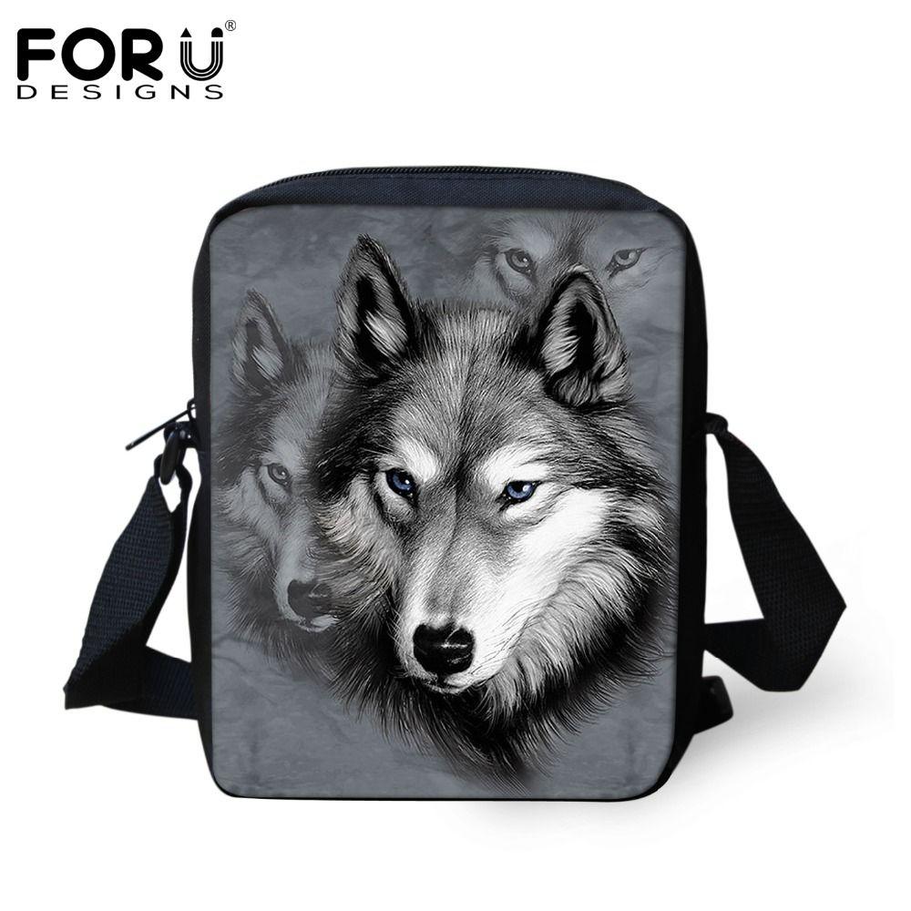 FORUDESIGNS Männer Messenger Bags Coole Tiere Wolf Umhängetasche Haustier  Husky Dog Printed Umhängetasche männer Reisetasche handtasche