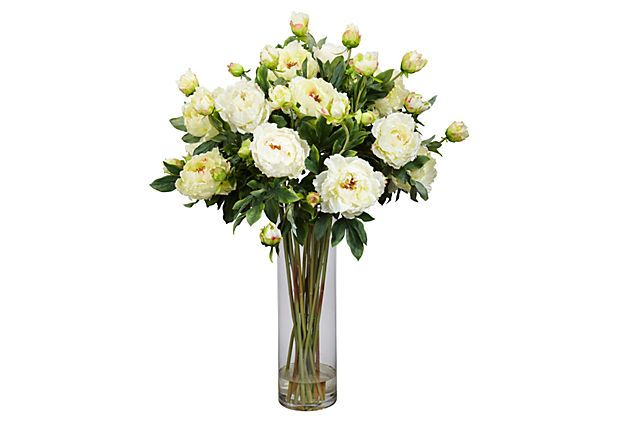 """38"""" Giant Peony Arrangement, White on OneKingsLane.com A simply beautiful faux peony arrangement that will add elegance to any spot in the home."""
