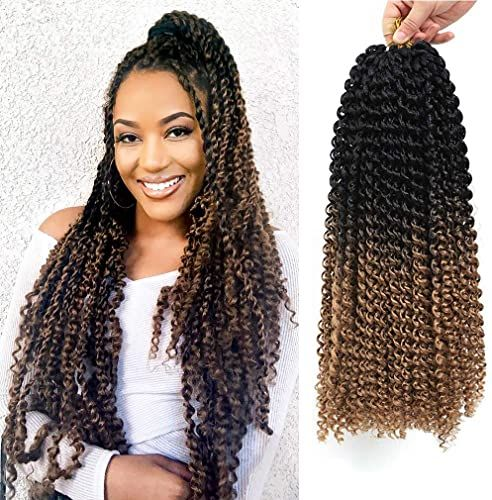Buy 7 Packs Passion Twist Hair 18 Inch Long Ombre Bohemian Water Wave For Crochet Braiding Hair Curly Crochet Hair Braids Synthetic Hair Extensions (18?7pcs, T1B27) online - Toplikestore