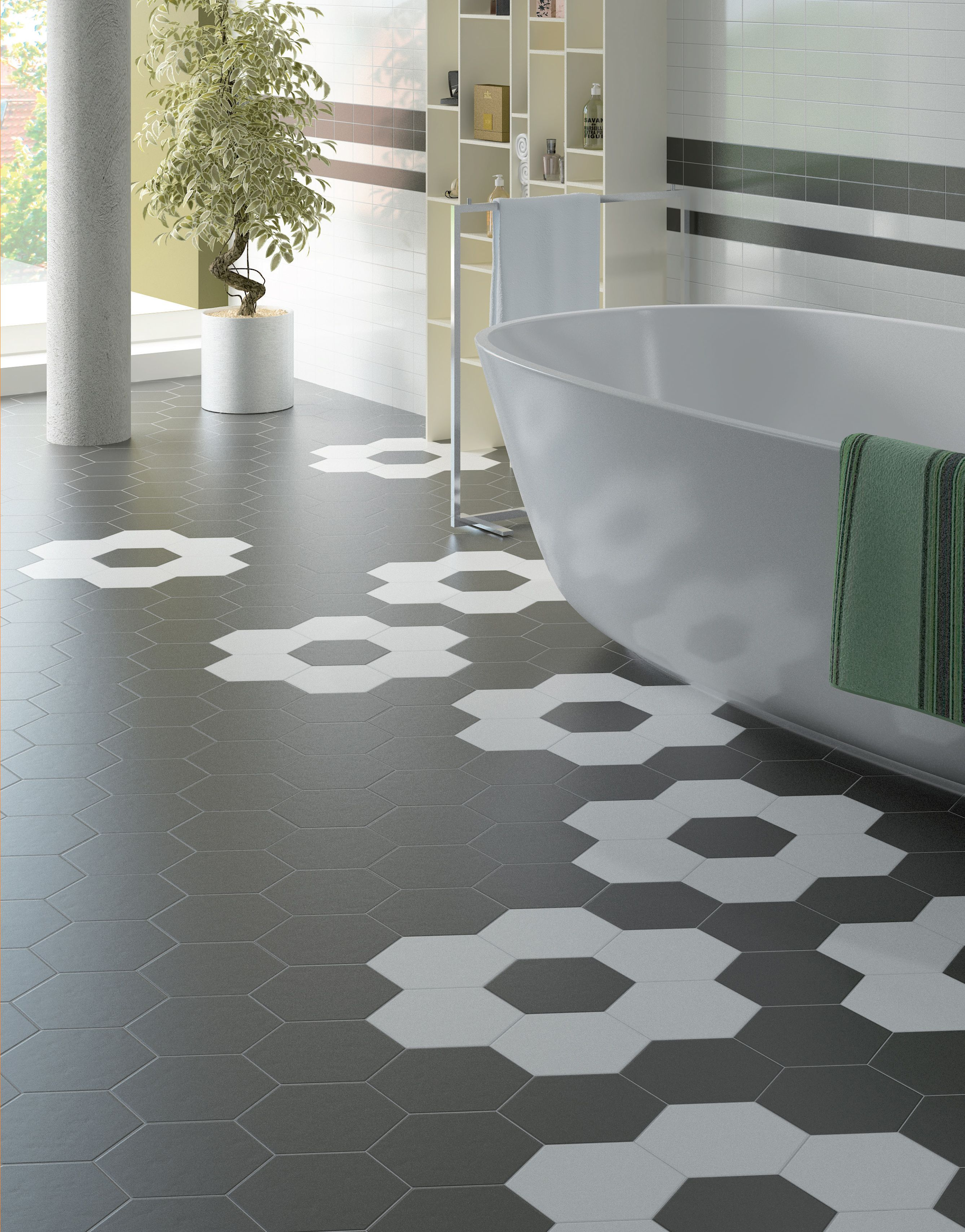 Hexatile is a contemporary take on the classic hexagon shape hexatile is a contemporary take on the classic hexagon shape bathroom tiles dailygadgetfo Images