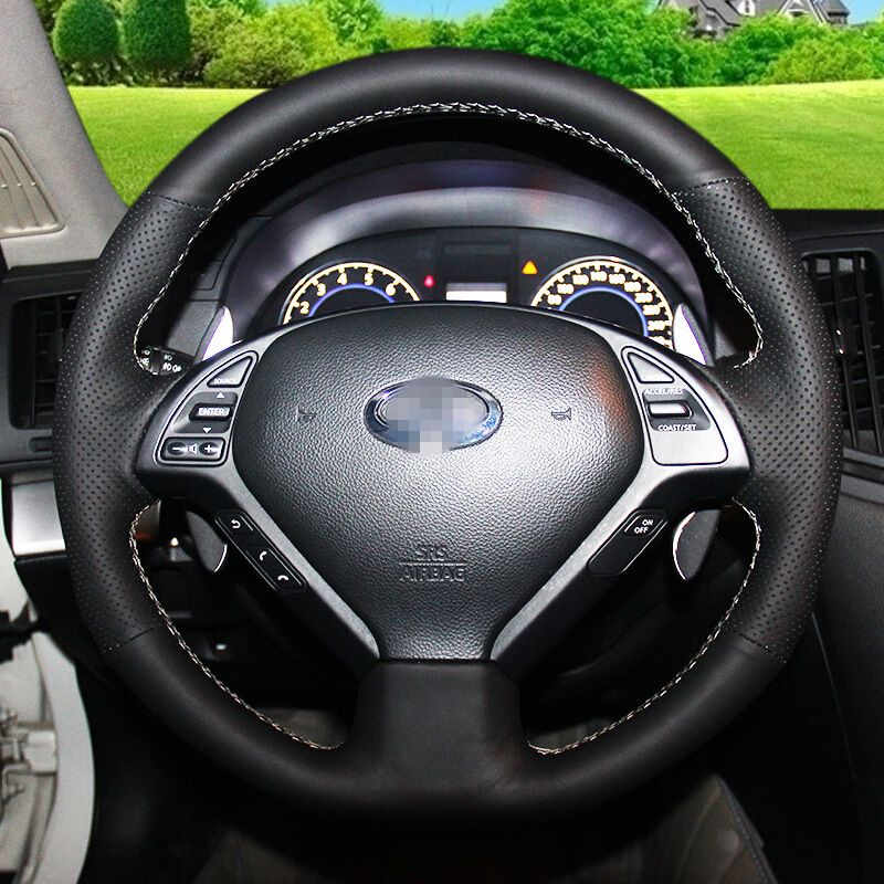 Hand Stitched Black Leather Steering Wheel Cover For Infiniti Qx50