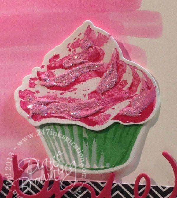 Sweet Cupcake, Melon Mambo, texture paste, glitter, watercolor