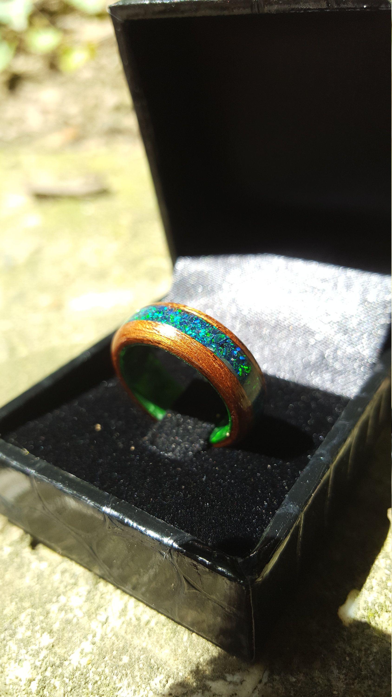 Mahogany with Crushed Dark Green Opal on Green Epoxy Core