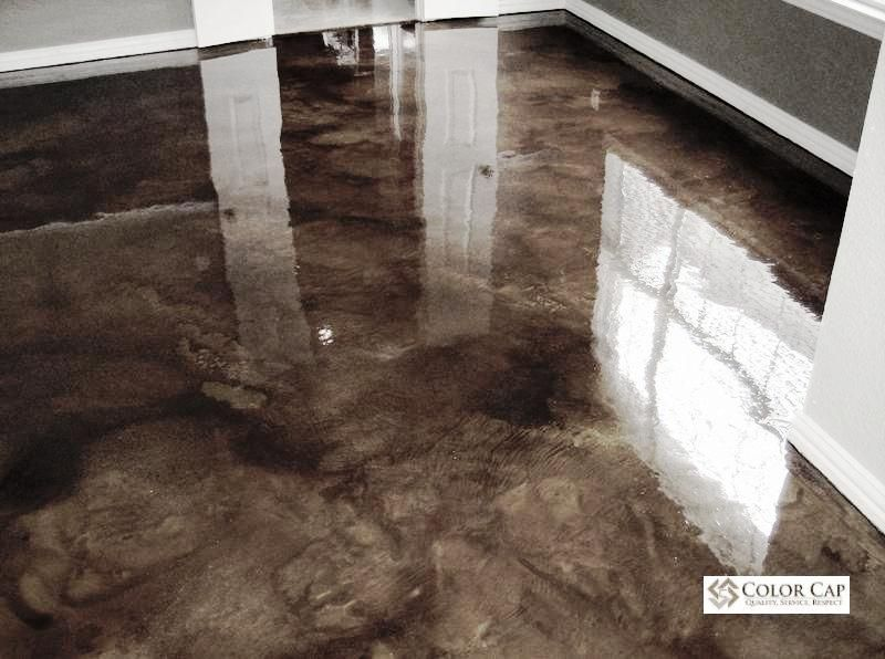 Interior concrete floor stain products ro finish for Stained concrete inside house