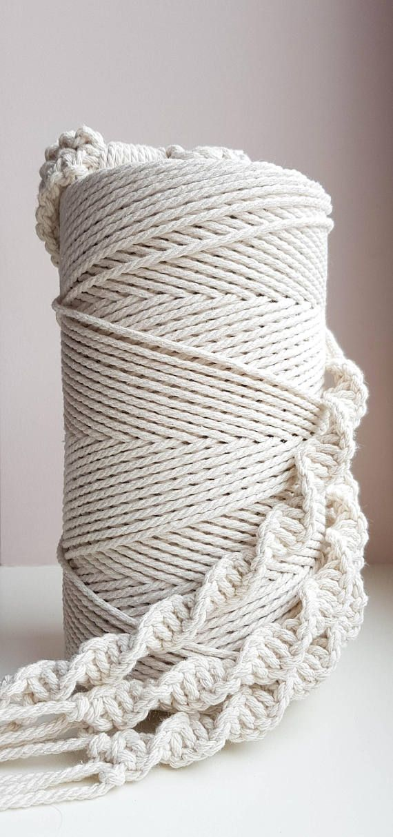 Natural White 1//2//3mm Macrame Rope Cotton Twisted Cord Craft String Home Decor